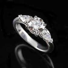 platinum art deco three stone diamond engagement ring setting