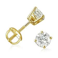 gold diamond stud earrings 1 2ct diamond stud earrings set in 14k yellow gold with backs
