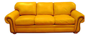 Yellow Leather Sofa by American Leather