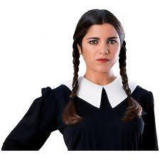 wednesday addams family wig child girls black w braids halloween