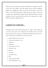 Bpo Sample Resume by Project Report On Study Of Bpo Hr Consultancy