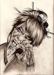 zombie geisha tattoo sketch original art