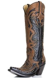 womens cowboy boots s laser inlay cowboy boots with studs black cognac
