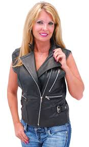 motorcycle jacket vest women u0027s black leather sleeveless motorcycle jacket vest ls13090k