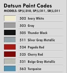 datsun paint codes what u0027s in your garage datsun paintcode