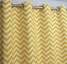 Yellow Grommet Curtain Panels by Amazon Com Yellow And White Chevron Zig Zag Drape With Blackout