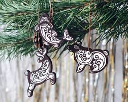 Wooden Toy Christmas Tree Decorations - wooden christmas ornaments handpainted russian folk art toys