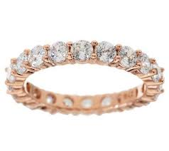 band ring diamonique 100 facet eternity band ring 14k clad or sterling