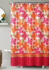 Pink And Orange Curtains Sweet Jojo Designs Pink And Orange Butterfly Shower Curtain