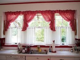 red kitchen curtain ideas ceramic tile wall backsplash modern