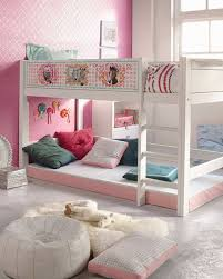 bedroom lovely double loft beds for teens with pink wall and