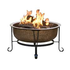 Copper Firepit Hammered Copper Pit With Heavy Duty Spark Guard Cover And