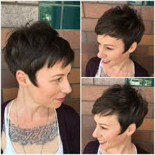 short hairstyles with fringe sideburns women s brunette messy textured fringe pixie with wispy sideburns