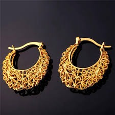 real gold earrings unique vintage look earrings 18k real gold plated or