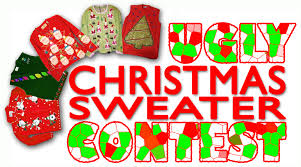 christmas ugly sweater contest rules gray cardigan sweater