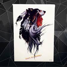indian tribal wolf temporary sticker waterproof