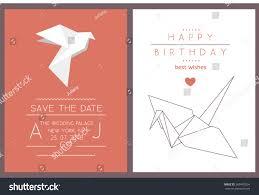 collection 2 modern card templates origami stock vector 386470504