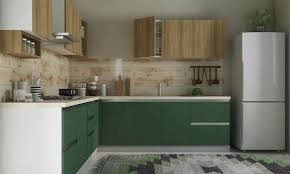 kitchens with shelves green l shaped kitchen design for small kitchens with green cabinet also