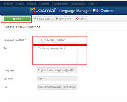 joomla 3 x how to edit copyright if it is coded in template files