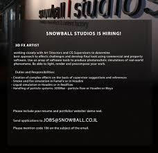 Vfx Jobs Resume by Snowball Studios Ltd Linkedin
