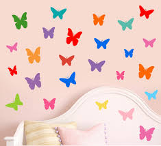 colourful butterfly silhouette pack of 25 wall vinyl