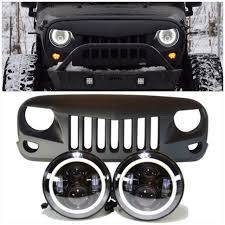 jeep light bar grill jeep jk projector headlights halo u0026 eagle eye grille combo pack