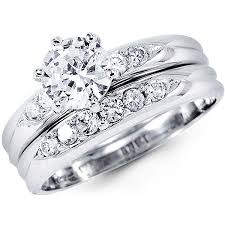 wedding ring sets 14k white gold cubic zirconia wedding ring set at