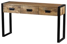 industrial console table with drawers industrial console tables delia three drawer handcrafted using