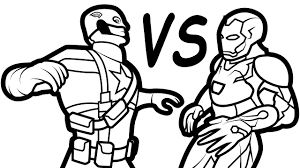 Iron Man Vs Captain America Coloring Book Coloring Pages Kids Fun Coloring Page Iron