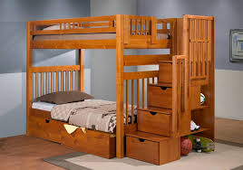 Bunk Bed With Stair Wooden Bunk Bed Stairs Glamorous Bedroom Design