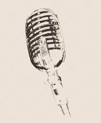 hand drawn studio microphone u2014 stock vector grop 72754867