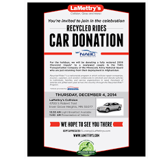 you u0027re invited recycled rides car donation lamettry u0027s