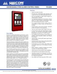 addressable fire alarm control panel fx 2200
