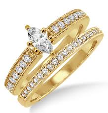 yellow gold bridal sets 1 00 carat bridal set with marquise cut diamond in 10k yellow gold