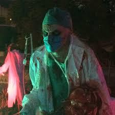 halloween yard at night hospital theme no mercy hospital