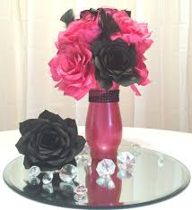 pink wedding decorations pink and black floral