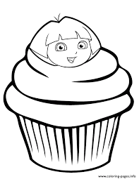 dora explorer cupcake coloring pages printable