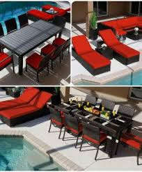 Red Patio Set by Wicker Patio Dining Sets Beachfront Decor