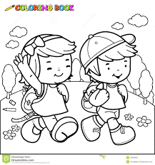 coloring book kids walk to stock vector image 49386962