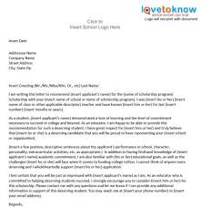College Letter Of Recommendation From Sle Scholarship Recommendation Letter Lovetoknow