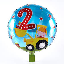 birthday helium balloons 2nd birthday boy in yellow digger foil helium balloon card factory