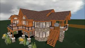 log home 3d walkthrough with free floor plans youtube