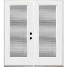 exterior door with blinds between glass shop 15 percent off benchmark by therma tru patio doors at lowes com