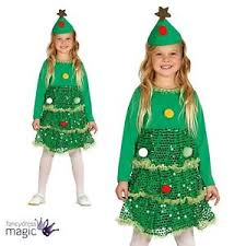 girls childs christmas tree xmas fancy dress costume novelty