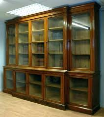 Vintage Bookcase With Glass Doors Wooden Bookcase With Glass Doors Solid Wood Bookcases With Doors