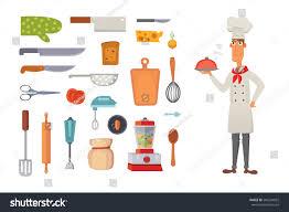 set kitchen shelves cooking utensils vector stock vector 586294832