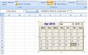 excel tips put a permanently open calendar on a worksheet