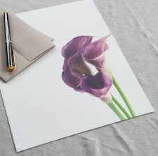 letter writing paper sets mypaperkittens letter writing paper purple callas letter paper letter writing set personalized gift