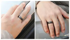 unique matching wedding bands couples matching his and hers heart wedding bands set in black