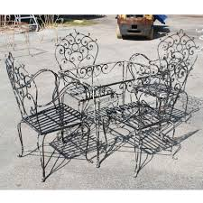 wrought iron patio ottoman astonishing wrought iron patio table set furniture vintage picture